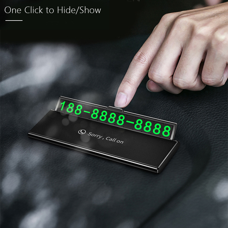 One-click hid Car Temporary Parking Card Phone Number Ultra-thin Drawer Hideable Luminous Telephone Number Plate car Accessories title=