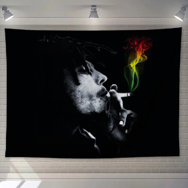 Tenture Rastafari Jamaïque Bob qui fume | Rasta-Lion