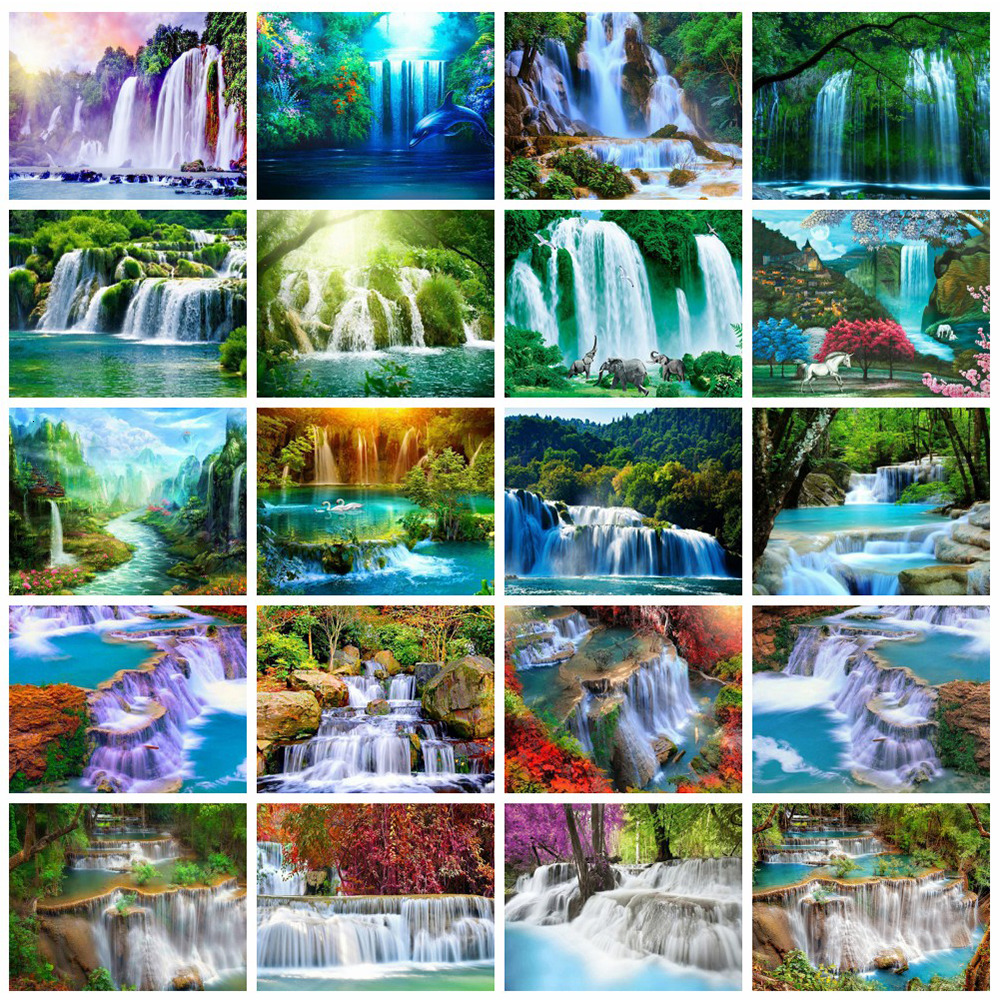Huacan Painting-Kit Embroidery Waterfall Scenery Farmhouse Mosaic Diamond-Art Landscape title=