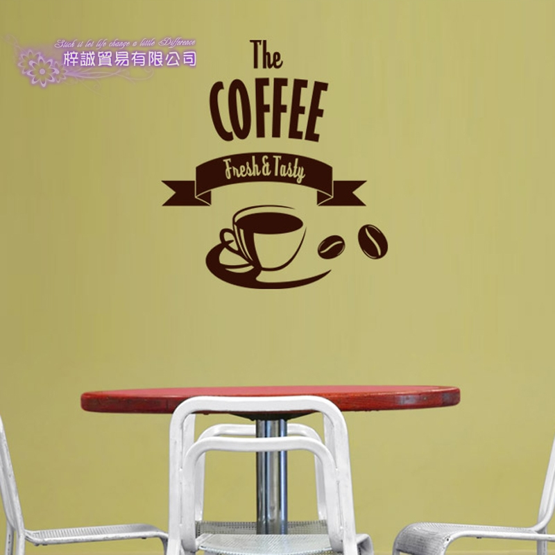 DCTAL Coffee Sticker Cup Decal Cafe Poster Vinyl Art Wall Decals Pegatina Quadro Parede Decor Mural Coffee Sticker