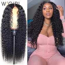 Wigirl Wigs Human-Hair Curly Long-Frontal Deep-Wave 13x6 Black-Women 28-30inch Malaysian