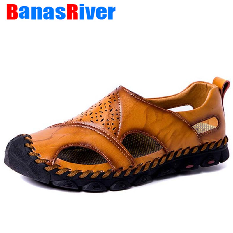 Men Cow Leather Sandals Outdoor Summer Handmade Shoes Flats Comfortable Hollow Breathable Casual Footwear Walking Botas Hombre