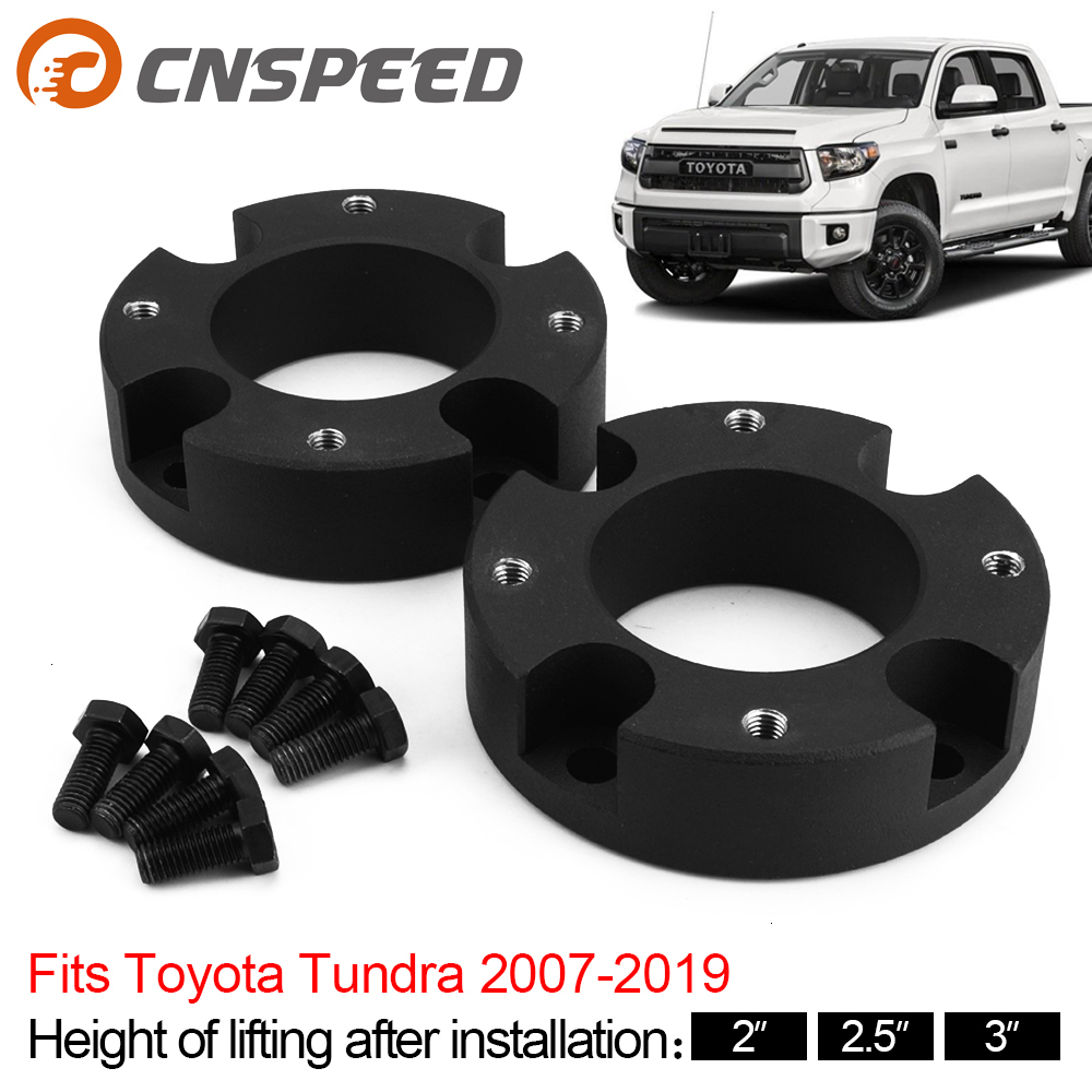 Billet Aluminum Strut Spacers HD Ubolts Street Dirt Track Fits 2007-2019 Toyota Tundra 3 Front 2 Rear Full Lift Leveling Kit 4WD 2WD Billet Rear Blocks