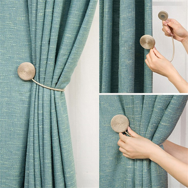 1Pc Magnetic Flannel Round Curtain Tiebacks Tie Backs Holdbacks Ring Buckle Clips Accessory Curtain Rods Decoration Accessoires