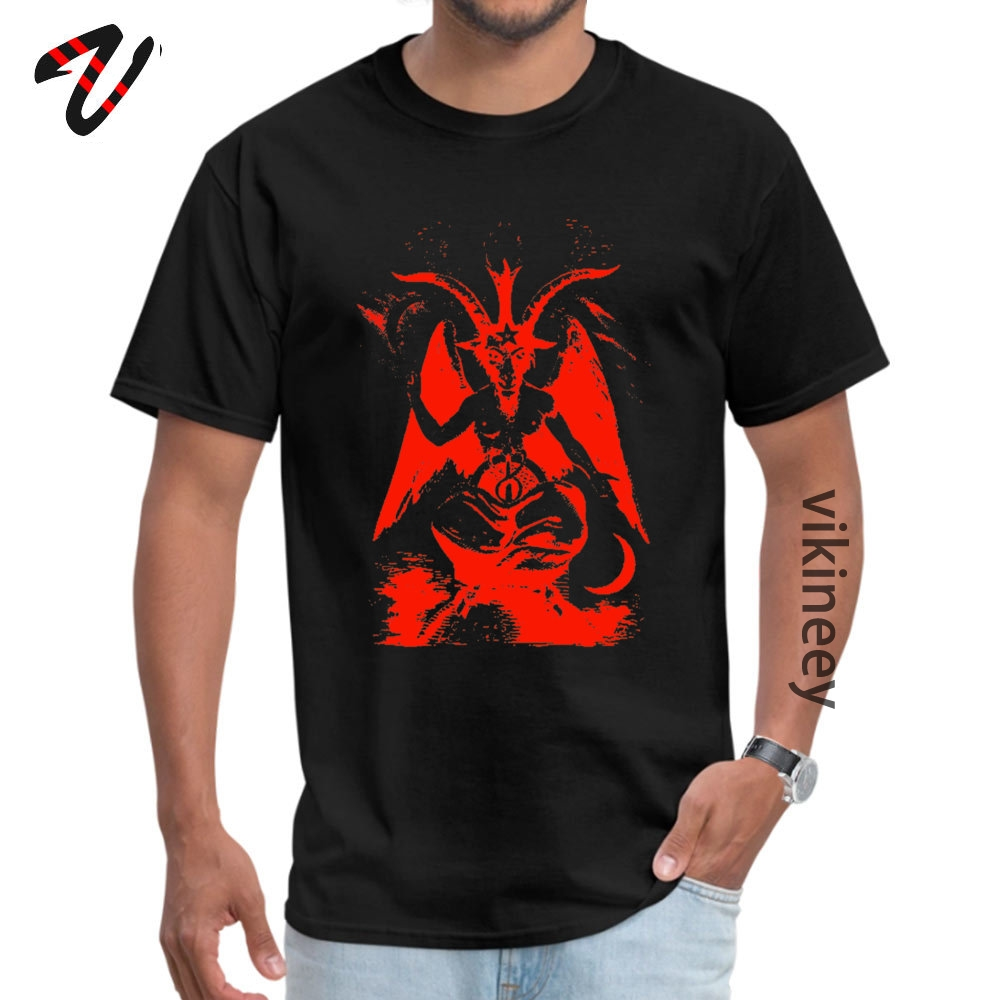 Red Baphomet Casual Father Day 100% Cotton Fabric Round Neck Men's Tops & Tees Tops & Tees 2019 Short Sleeve T Shirts Red Baphomet 9795 black