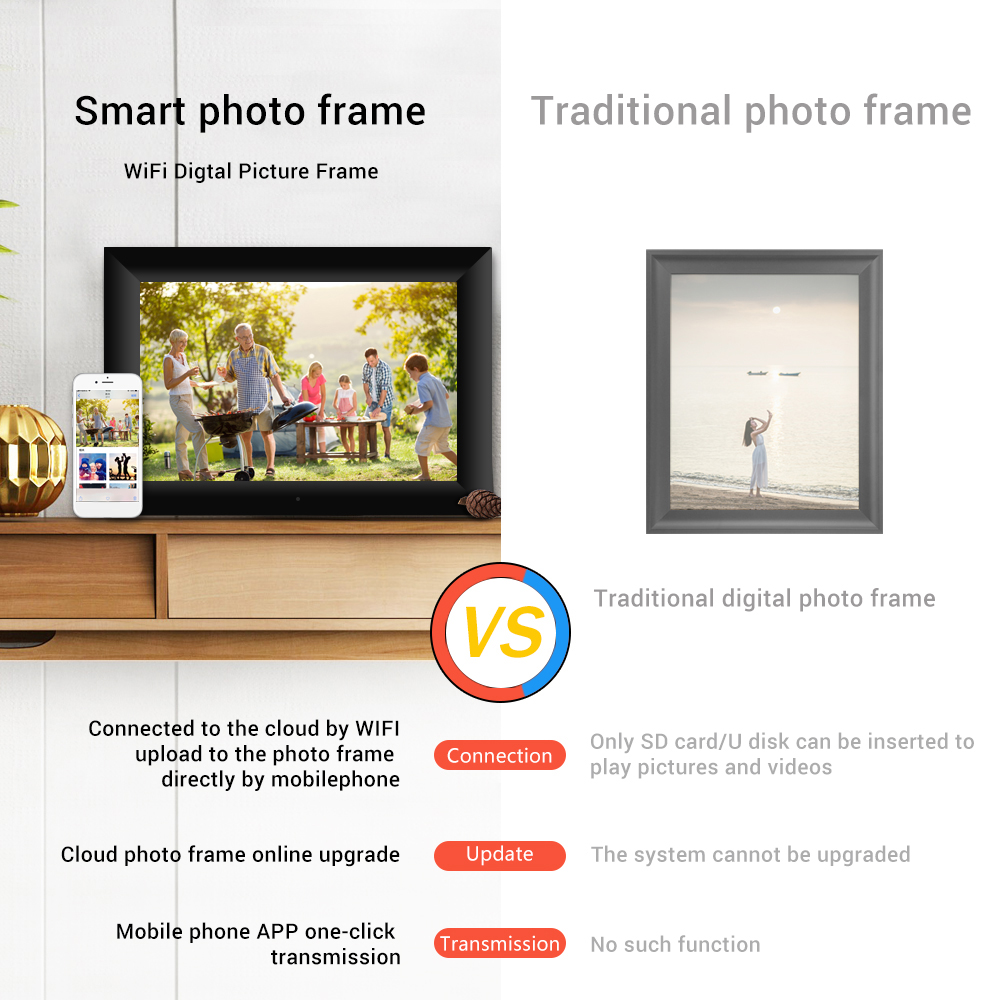 Docooler P80 WiFi Digital Picture Frame 8-inch 16GB Smart Electronics Photo Frame APP Control Send Photos Push Video Touch Screen 800x1280 IPS LCD Panel