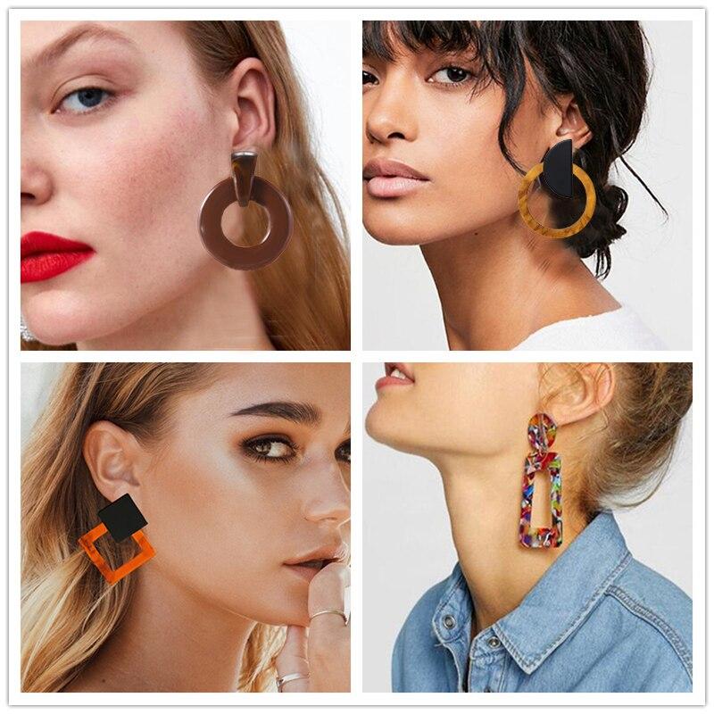 Resin Acrylic Big Flower Earrings for Women Girls Fashion Dangle Stud Earrings