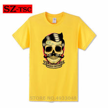 Skull Tattoo Illustration Creative Design T-Shirt Print Fire Skull T-shirt Short Sleeve Hip-Hop Tees Tops Cool t shirt Halloween(China)