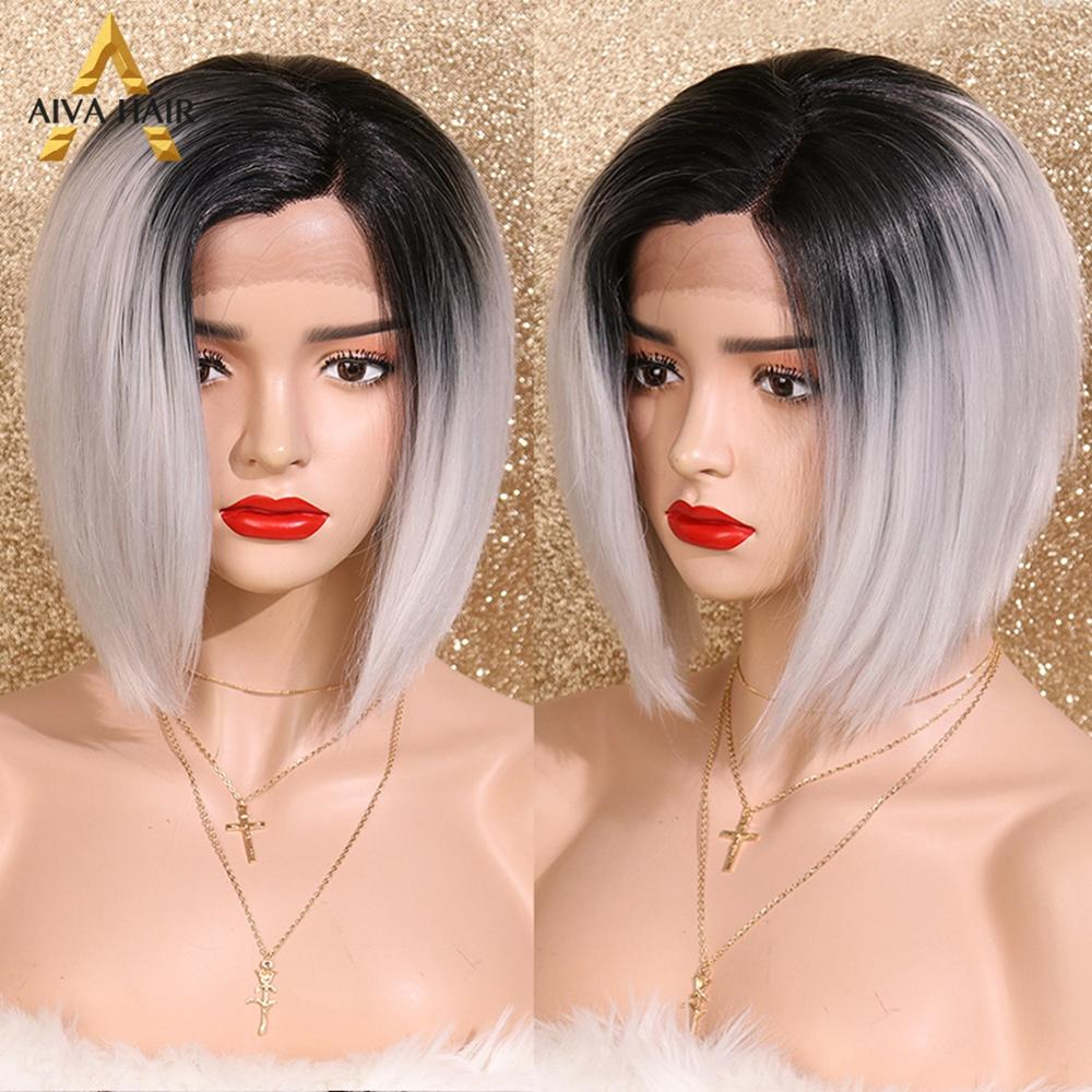 Aiva Hair Ombre Grey Bob Wig With Dark Roots High Temperature L Part Synthetic Lace Front Wig Cosplay Short Wigs For Black Women
