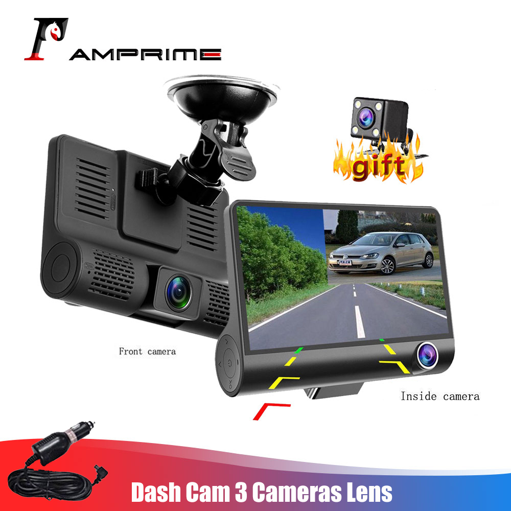 AMPrime 4'' Three Way Car DVR FHD Three Lens Video Recorder Camera 170 Wide Angle Dash Cam G-Sensor And Night vision Camcorder title=