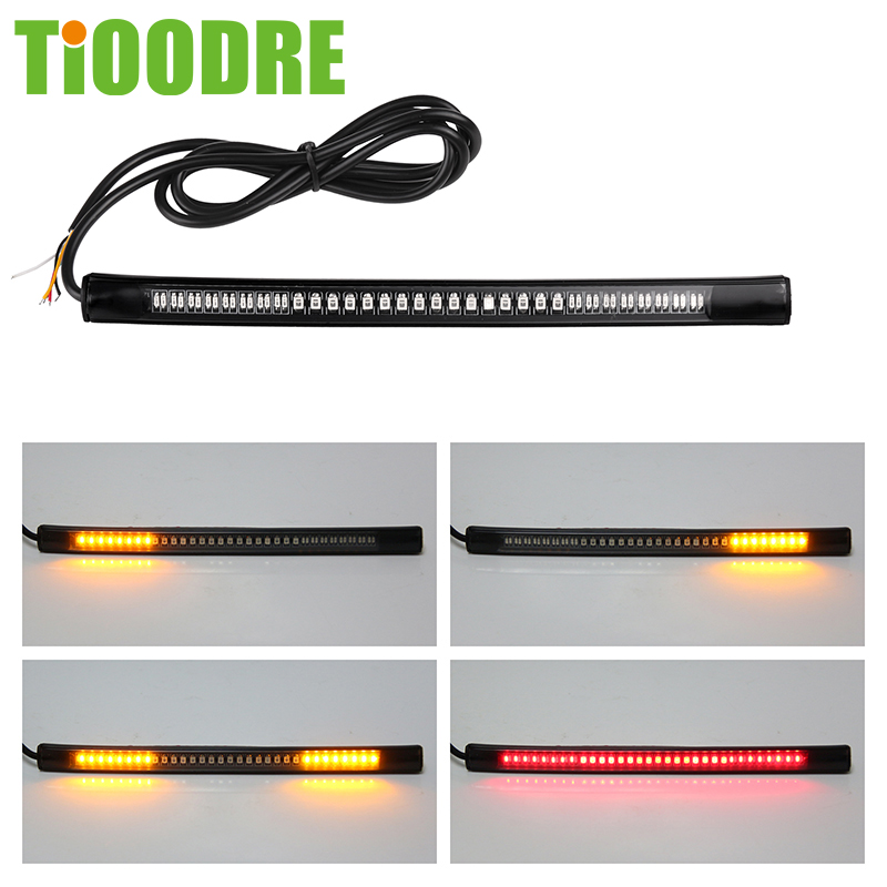 Light-Bar Strip Signal-Lights License-Plate-Light Motorcycle Amber-Color Flexible 3528 title=