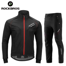 ROCKBROS Cycling Clothing Set Winter Thermal Fleece Pants Rainproof Windproof Reflective Cycling Jersey Set Men Women Sportswear