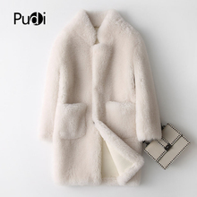 Fur Coat Jacket Parka Cream-Color PUDI Over-Size Real-Wool Winter Women's Warm A17833