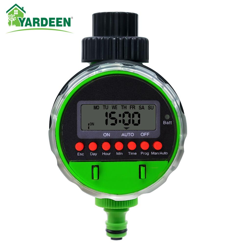 New Arrival Yardeen Garden Ball Valve Irrigation Water Timer Automatic Program Irrigation Watering Controller Green title=
