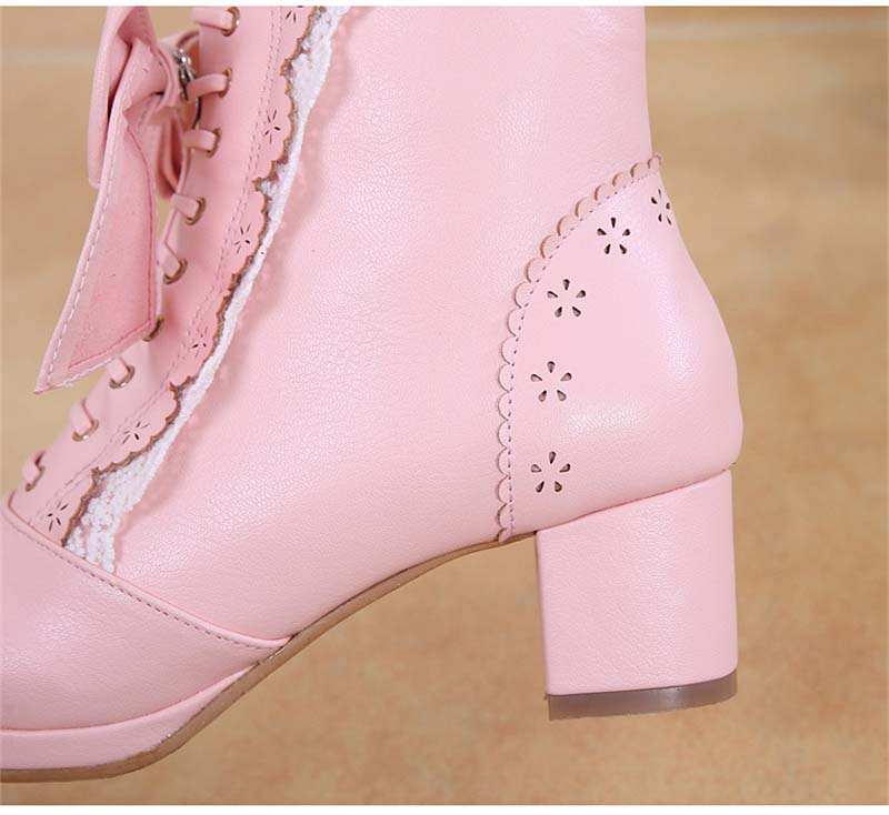 Details about  /Bow Lolita Women/'s Lace Mid Calf Boots Suede Shoes High Heel Lace Up Fashion Hot
