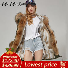 Women Coat Jacket Rabbit-Fur-Coat Raccoon-Collar Long-Parka Natural Winter Waterproof