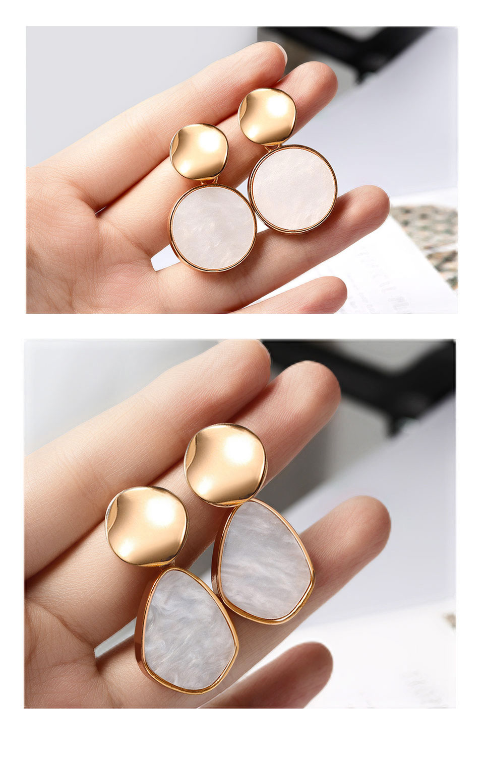 POXAM Hot Korean Gold Color Earrings 19 for Women Fashion Statement Jewelry Leaf Face Metal Acrylic Ear Dangle Drop Earing 5