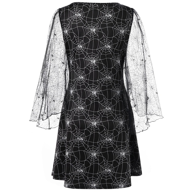 Halloween Spider Web Print Sheer Dress Women Sexy Flare Sleeve Lace Loose Gothic Mesh Party Dress