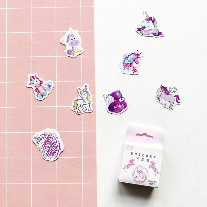 50 pcs/Pack Cute Unicorn Paper Stickers DIY Decorative Sealing Paste Stick Label Stationery Kids Gift