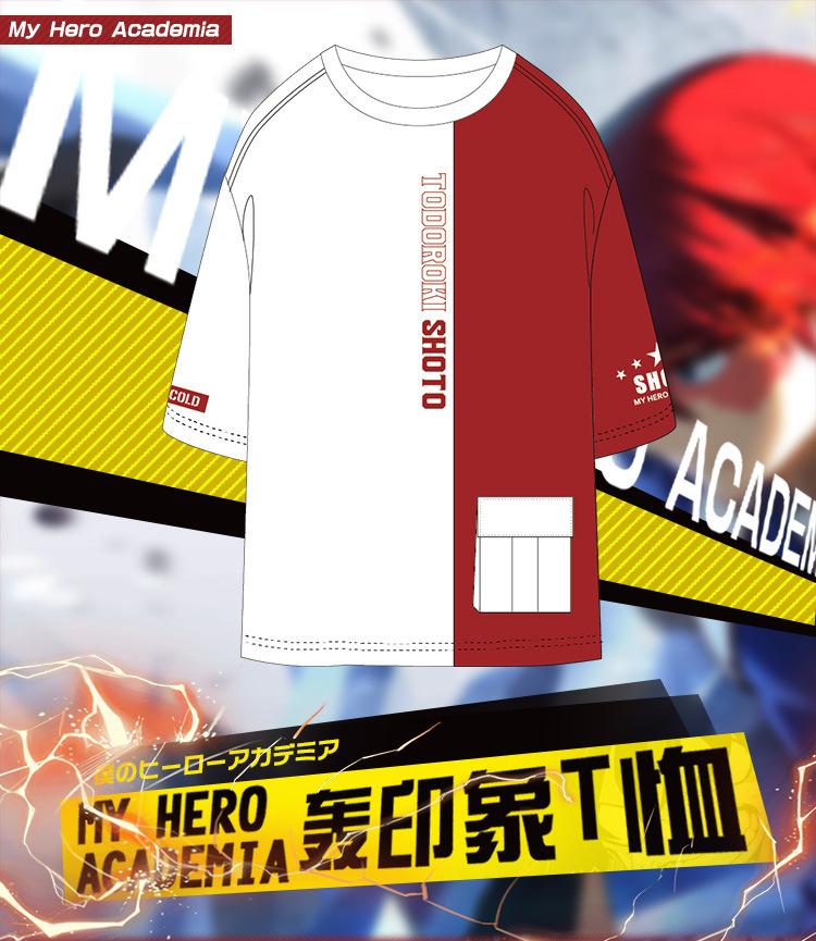 helymore Adulte Unisexe Anime Cosplay Costume Deguisement Todoroki Shoto T-Shirt Chemise Moulante DEte