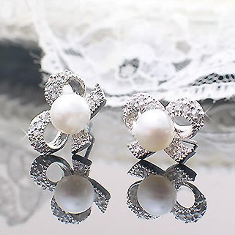 1 Pair Bow Rhinestone Imitation Pearls Earrings Womens Fashion Jewelry Gift