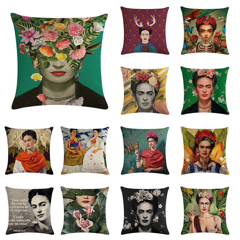 18*18/'/' Painter  Caro woman Decorative Cushion Cover Cotton Linen Square Throw Pillow Cover  Home Office Car Sofa