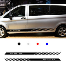 For Mercedes Vito Racing Side Stripes Logos Decals Stickers Vinyl Graphics Vinyl 1 pair(L+R)