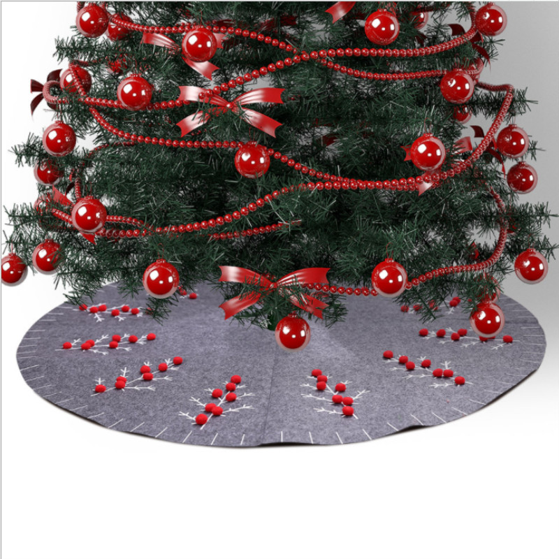 New 120cm Christmas Grey Tree Skirt Round Carpet Party Ornaments Christmas Decorations Home Floor Mat Xmas Tree Skirt Aprons