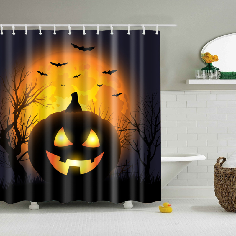 Happy Halloween bats Shower Curtain Bathroom Decor Fabric /& 12hooks 71*71inches