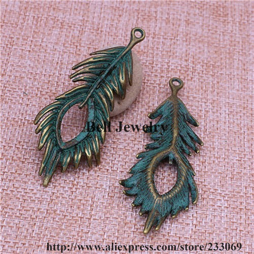 retro style Beautiful feathers alloy charms pendants 30*10mm