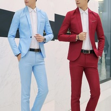 Men Suits Costumes Jacket Pants Blazer Wedding-Busniess Slim Long-Sleeve Solid-Color