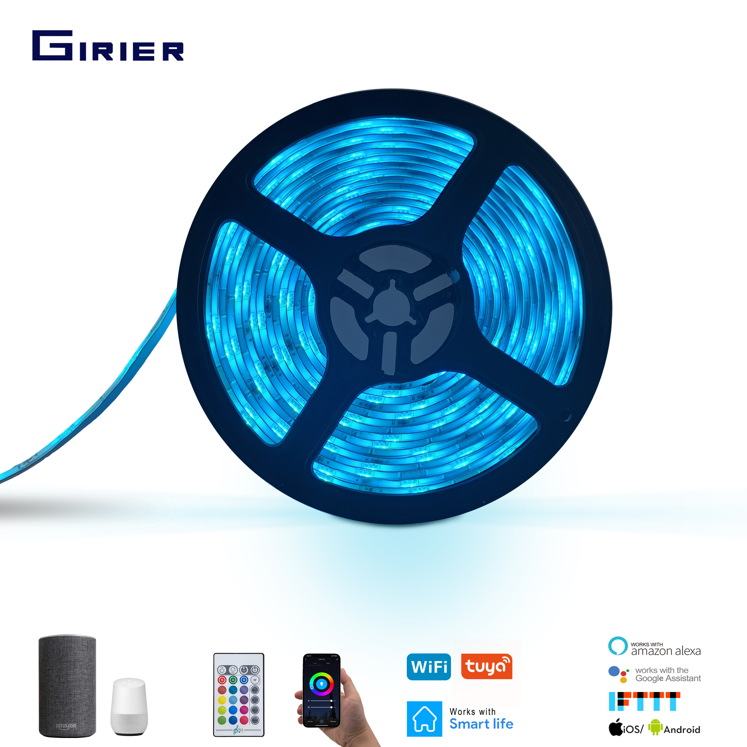 2M 5M 10M Smart LED Strip Lights 5050 RGB Dimmable Wifi Light Strip Tuya App Control IP65 Waterproof Support Alexa Google Home title=