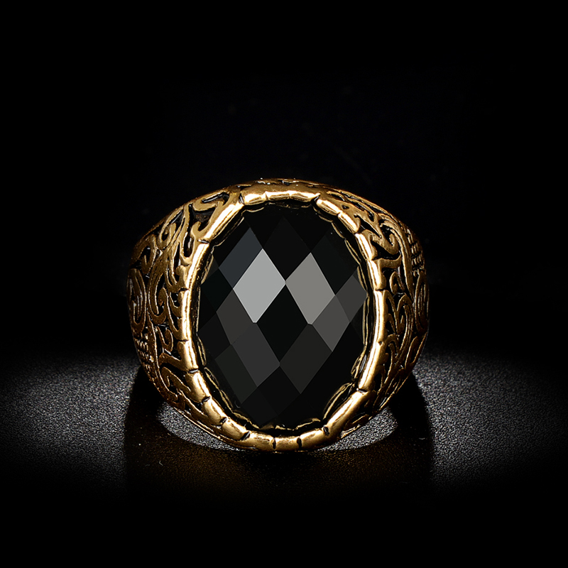 Vintage Jewelry Antique-Ring Ring-Carving-Pattern Black Stone Dubai Gold Wholesale Oval title=