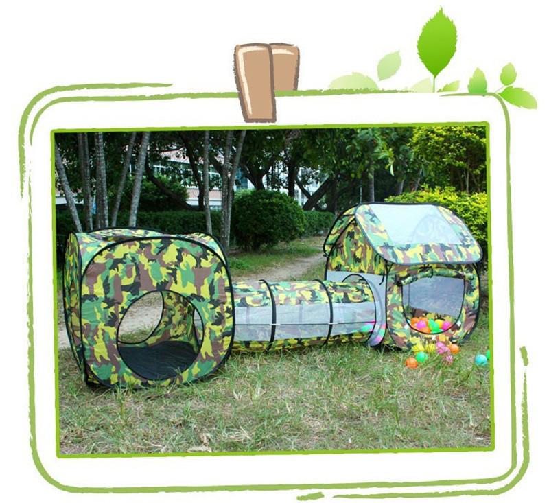 3 in 1 Camouflage Outdoor Playhouse Tunnel Tent for Baby Children Waterproof Two Rooms Tunnel Tents 2307085cm Kids' Gift Toys (4)