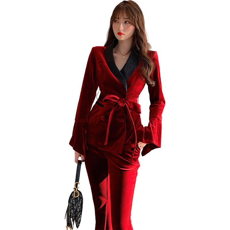 Solid Modis Work Blazer and Flare Pants Women Spring Winter 2 Piece Set Soft Streetwear Office Velvet Two Piece Set for Ladies