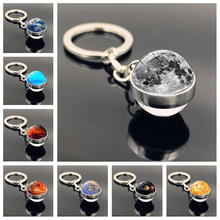 Solar System Planet Keyring Galaxy Nebula Space Keychain Moon Earth Sun Mars Art Picture Double Side Glass Ball Key Chain Gifts