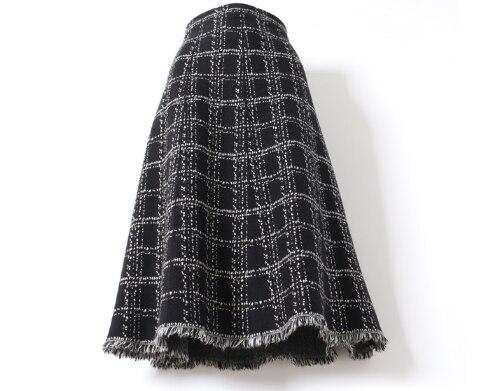 Fashionable New Autumn Winter Fringe skirt knitting Elegant Ladies A-line Skirt high waist Slim fit Comfortable Woman Skirt