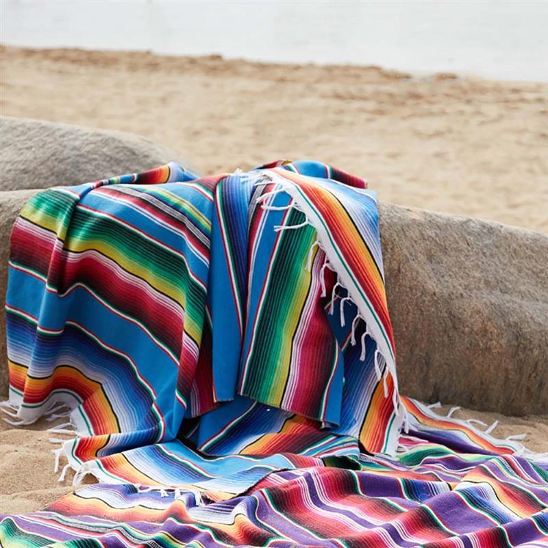 YYXDSG Viento /étnico Manta de Playa Algod/ón Indio Mexicano Hecho a Mano Manta Arco Iris Tapicer/ía Casa Alfombra de Playa Estera de Picnic Lago Azul 150 180 cm