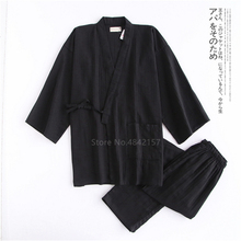 Men Kimono Pajamas Yukata Samurai-Clothing-Set Traditional Japanese Casual Sleepwear