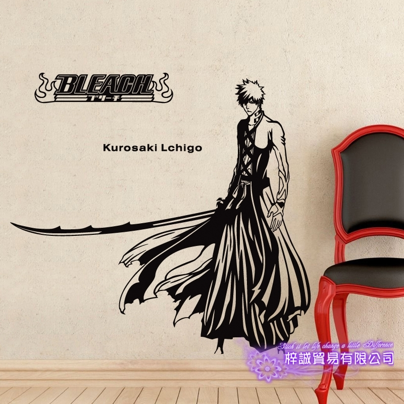 DCTAL BLEACH Kurosaki Ichigo Car Decal Wall Sticker Cartoon Fans Vinyl Wall Stickers Car Decal Decor Home Decorative