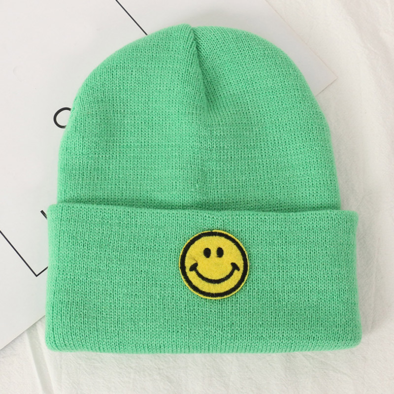 Warm Children Winter Knitted Hats Smile Pattern Solid Cap Beanie Crochet Hats