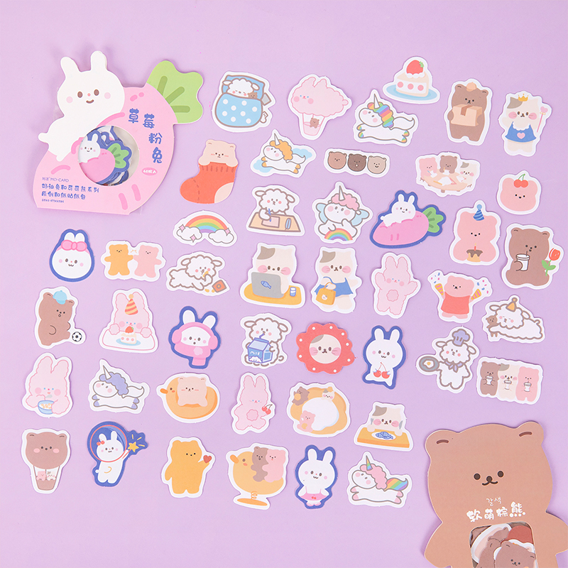 40 pcs Cream Rabbit and Cocoa Bear Series Journal Decorative Stickers Scrapbooking Stick Label Diary Stationery Album Stickers