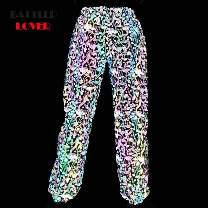 Multicolor reflective pants women night flash joggers female streetwear hip hop camouflage colorful trousers couples sweatpants
