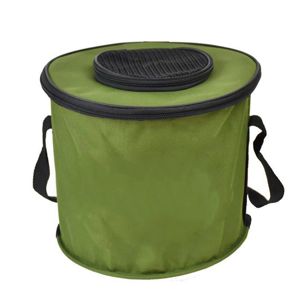 Collapsible Water Bucket Fishing Tackle Mesh Lid Fish Pail Baits Lures Case