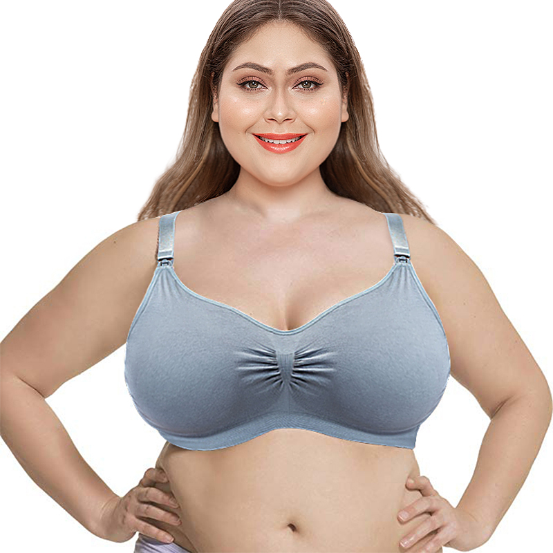 SEXYWG Women's Breathable Supportive Plus Size Cotton Maternity Nursing Front Open Breathable Pregnant Breastfeeding Bra XL-3XL