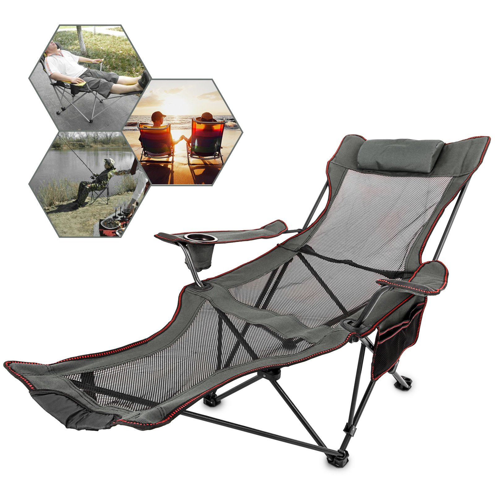Seat-Stool Fishing-Chair Sun-Lounger Back Folding Portable VEVOR title=