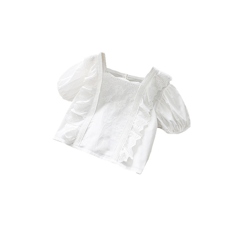 2020 Summer Girl/'s Solid Color Lace Square Collar Shirt Children/'s Loose White Shirt