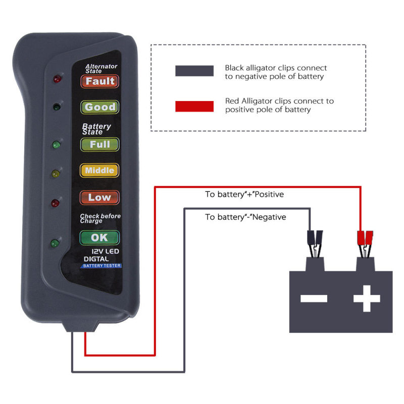 Car-Battery-Tester Led-Lights-Display Car-Diagnostic-Tool Mini 12V for 6 Digital title=