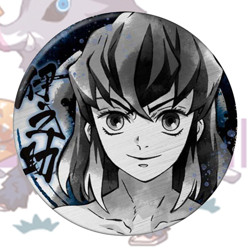 4 5.8CM//2.3 Inch WerNerk Anime Brooch Demon Slayer Kimetsu no Yaiba Badges Button Pin Cosplay Brooch for Anime Fans