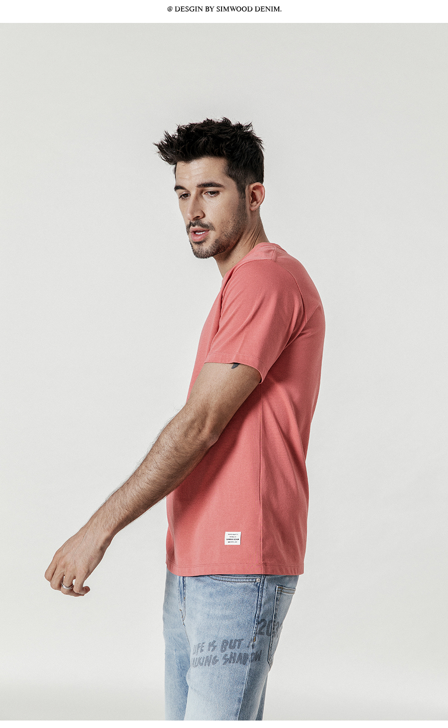 SIMWOOD 19 Summer New T-Shirt Men 100% Cotton Solid Color Casual t shirt Basics O-neck High Quality Plus Size Male Tee 190004 22
